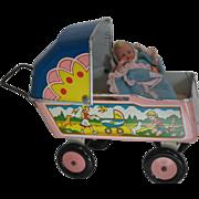 SALE Litho Tin Baby Buggy and German Baby