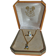 1970's Disney Child's Donald Duck Necklace & Ring - orig. box