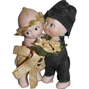 """All Bisque German Kewpie Wedding Couple - 2 1/2"""" tall - Glass dome"""