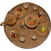 Hand Painted Wooden Tea Set for your Asian Dolls