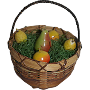 Larger Vintage Doll Basket with 1940's German Fruit