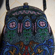SALE Textured Beaded Purse Art Deco Era Floral Lining!