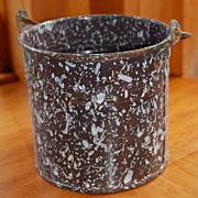 REDUCED Brown and White Graniteware Cream or Berry Bucket
