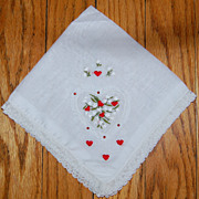 SALE Vintage Lace Handkerchief with Hearts