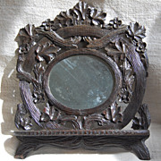 SALE Antique Black Forest Mirror with Folding Shelf