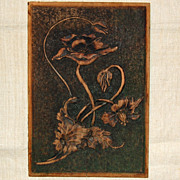 SALE Circa 1907 Carved Wooden Plaque 'Poppies'