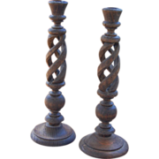 Vintage Hand Made Wood Candlesticks