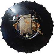 SALE PENDING Victorian Aesthetic Chinoiserie Papier Mache Footed Plate