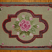 SALE Vintage Floral Hooked Rug with Roses