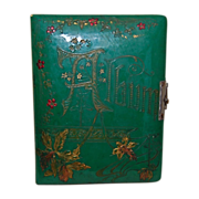 SALE Antique Green Celluloid and Velvet Photo Album