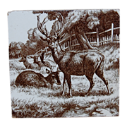 SALE Mintons William Wise Stag and Deer Tile