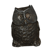 SALE Miniature Lead Owl Funky Figurine