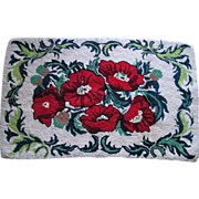 SALE Bold Red Poppy Hooked Rug