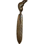 SOLD Brass Letter Opener Rat on a Feather
