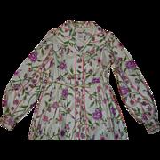 SALE Mr Mort Stan Herman 1950's Floral Cotton Bathrobe Small
