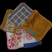 Vintage Cotton Colorful Handkerchiefs
