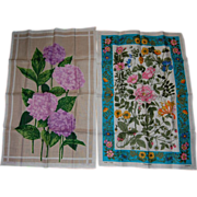 SOLD 2 Irish Linen Spring Floral Towels