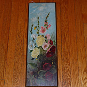 SALE Victorian Hollyhock Oil Painting on board