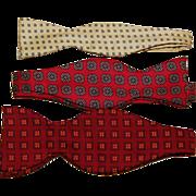 SALE Three Vintage Silk Men's Bow Ties