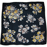 SALE Yellow and White Carnations on Black Silk Scarf