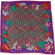 SALE PENDING Vintage Laura Geraldi Red Purple Floral silk Scarf