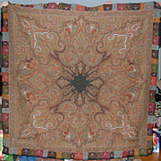 SALE Antique Paisley Wool Shawl Scottish Kashmir Style