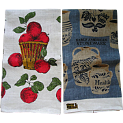 Two Vintage Autumn Linen Towels Apples and Stoneware