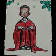 Watercolor Christmas Choir Boy Greeting Card