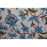 SOLD Vintage Blue Wool Crewel Fabric 2 Yards+