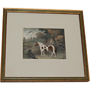 Vintage Framed Pony and Dog 19th c. Print