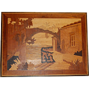 Vintage Sorrento Marquetry Scene Looking Toward Vesuvius