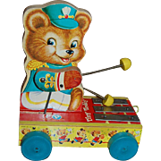 SOLD Fisher Price Tiny Teddy Musical Pull Toy #635