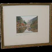 Sawyer Colored Photograph Eagle Cliff at Profile lake NH