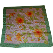 Vintage Signed Silk Tropical Hibiscus Scarf
