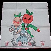 Vintage Tea or Kitchen Towel Anthropomorphic Fruit Vaudeville Performers
