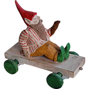 Wonderful Carved Wooden Elf Child's Pull Toy