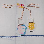 SALE Vintage Batiste Hand Towel with Oriental Lanterns tiny cross stitch!