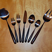 SALE Lauffer Palisander Modern Flatware Set 42 pieces w/ Serving Set
