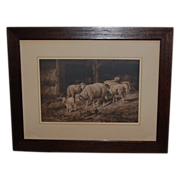 REDUCED Vintage Prang Guyot Print of Sheep in Barnyard