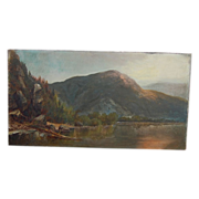 SALE Antique Oil Painting Scene of Lake George