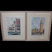 SALE 2 Watercolors of Venice San Marco Plaza and Gondola Marchetto
