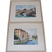 SALE 2 Signed Venetian Watercolors Grand Canal Bridge of Sighs