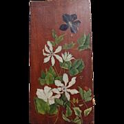 Clematis Floral Oil Still Life on Walnut Board