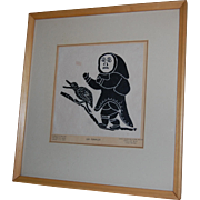Leah Kumaluk Inuit Print She Is Running After Goose 1970