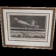 SALE Comical Copper Etching Print Nicolaus Vanni Grasshopper and Dove