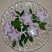 SALE Modern Signed Art Glass Morning Glory Plate