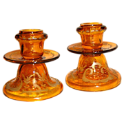 SALE Fabulous Bohemian Candlesticks Amber Cut  to Clear