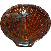 Cambridge Glass Shell Dish Flanders Poppy