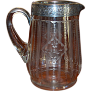 REDUCED Edwardian Era Etched Glass Pitcher with Silver Banding