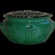 Flower Frog on Art Deco Green Glass bowl